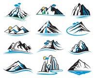 Iconos de la montaña fijados Fotografía de archivo