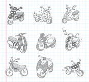 Iconos de la motocicleta del garabato Fotos de archivo libres de regalías