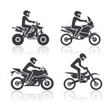 Iconos de la motocicleta fijados Imagen de archivo