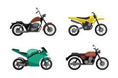 Iconos de la motocicleta fijados Imágenes de archivo libres de regalías