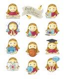 Iconos de la muchacha de la escuela stock de ilustración