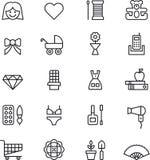 Iconos de la muchacha y de la mujer Imagenes de archivo
