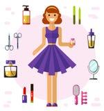 Iconos de la muchacha y de los cosméticos Foto de archivo libre de regalías