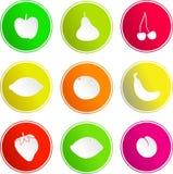 Iconos de la muestra de la fruta Foto de archivo libre de regalías