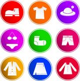 Iconos de la muestra de la ropa Foto de archivo