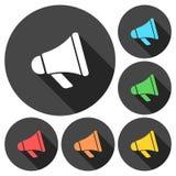 Iconos de la muestra del megáfono fijados con la sombra larga Fotos de archivo libres de regalías