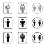 Iconos de la muestra del robot del retrete fijados Fotografía de archivo