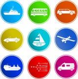 Iconos de la muestra del transporte Fotos de archivo