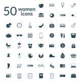 50 iconos de la mujer fijados Foto de archivo