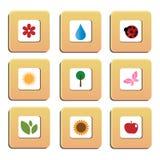 Iconos de la naturaleza Foto de archivo libre de regalías