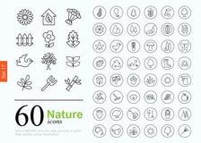 60 iconos de la naturaleza Imágenes de archivo libres de regalías