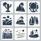 Iconos de la naturaleza del vector fijados ilustración del vector