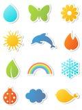 Iconos de la naturaleza fijados. Imagenes de archivo
