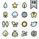 Iconos de la naturaleza fijados Foto de archivo libre de regalías