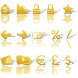 Iconos de la navegación del Web site del dinero de las finanzas fijados Foto de archivo libre de regalías