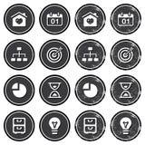 Iconos de la navegación del Web site en conjunto de escrituras de la etiqueta retro Foto de archivo