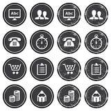 Iconos de la navegación del Web site en conjunto de escrituras de la etiqueta retro Imagen de archivo libre de regalías