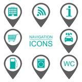 Iconos de la navegación Iconos de la silueta Alcance de servicios Diseño plano Imagen de archivo