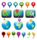 Iconos de la navegación del GPS Imágenes de archivo libres de regalías