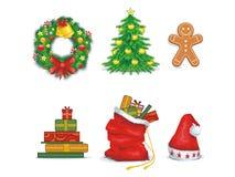 Iconos de la Navidad stock de ilustración
