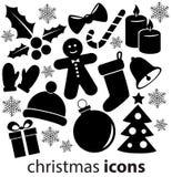 Iconos de la Navidad aislados en el fondo blanco Imagen de archivo