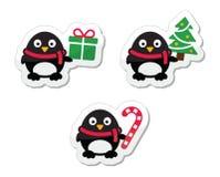 Iconos de la Navidad con los pinguins Imagen de archivo libre de regalías