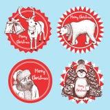 Iconos de la Navidad del bosquejo Imagenes de archivo
