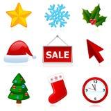Iconos de la Navidad del Web del día de fiesta. Fotos de archivo