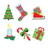 Iconos de la Navidad en blanco Fotografía de archivo
