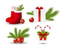 Iconos de la Navidad en blanco ilustración del vector