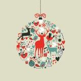 Iconos de la Navidad en dimensión de una variable de la chuchería Fotografía de archivo libre de regalías