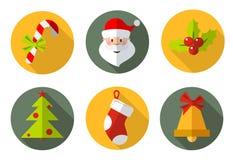 Iconos de la Navidad fijados Imágenes de archivo libres de regalías