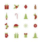 Iconos de la Navidad fijados Fotografía de archivo libre de regalías