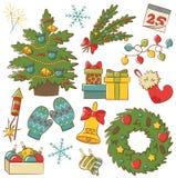 Iconos de la Navidad fijados Imagenes de archivo