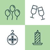 Iconos de la Navidad fijados Colección de cera del fuego, de Champagne Glasses, de bola del aire y de otros elementos También inc Imágenes de archivo libres de regalías