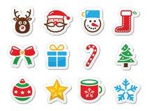 Iconos de la Navidad fijados como escrituras de la etiqueta Foto de archivo libre de regalías