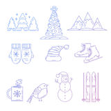 Iconos de la Navidad fijados El día de fiesta se opone la colección Foto de archivo libre de regalías