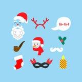 Iconos de la Navidad fijados El día de fiesta se opone la colección Ilustración del vector Imagen de archivo libre de regalías