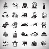 Iconos de la Navidad fijados en el fondo blanco libre illustration