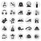 Iconos de la Navidad fijados en fondo del círculo ilustración del vector