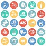 Iconos de la Navidad fijados en fondo del color ilustración del vector