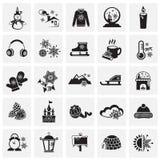 Iconos de la Navidad fijados en fondo de los cuadrados ilustración del vector