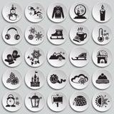 Iconos de la Navidad fijados en las placas ilustración del vector