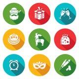 Iconos de la Navidad fijados Ilustración del vector Imagen de archivo