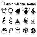 Iconos de la Navidad fijados negros Fotos de archivo libres de regalías