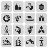 Iconos de la Navidad fijados negros Fotografía de archivo libre de regalías