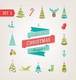 Iconos de la Navidad, logotipo, elementos y ejemplos retros EPS 10 stock de ilustración