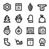 Iconos de la Navidad - Santa Claus, duende y trineo Imagenes de archivo