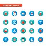 Iconos de la Navidad y del Año Nuevo fijados Fotografía de archivo