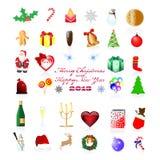 Iconos de la Navidad y del A?o Nuevo Imagen de archivo